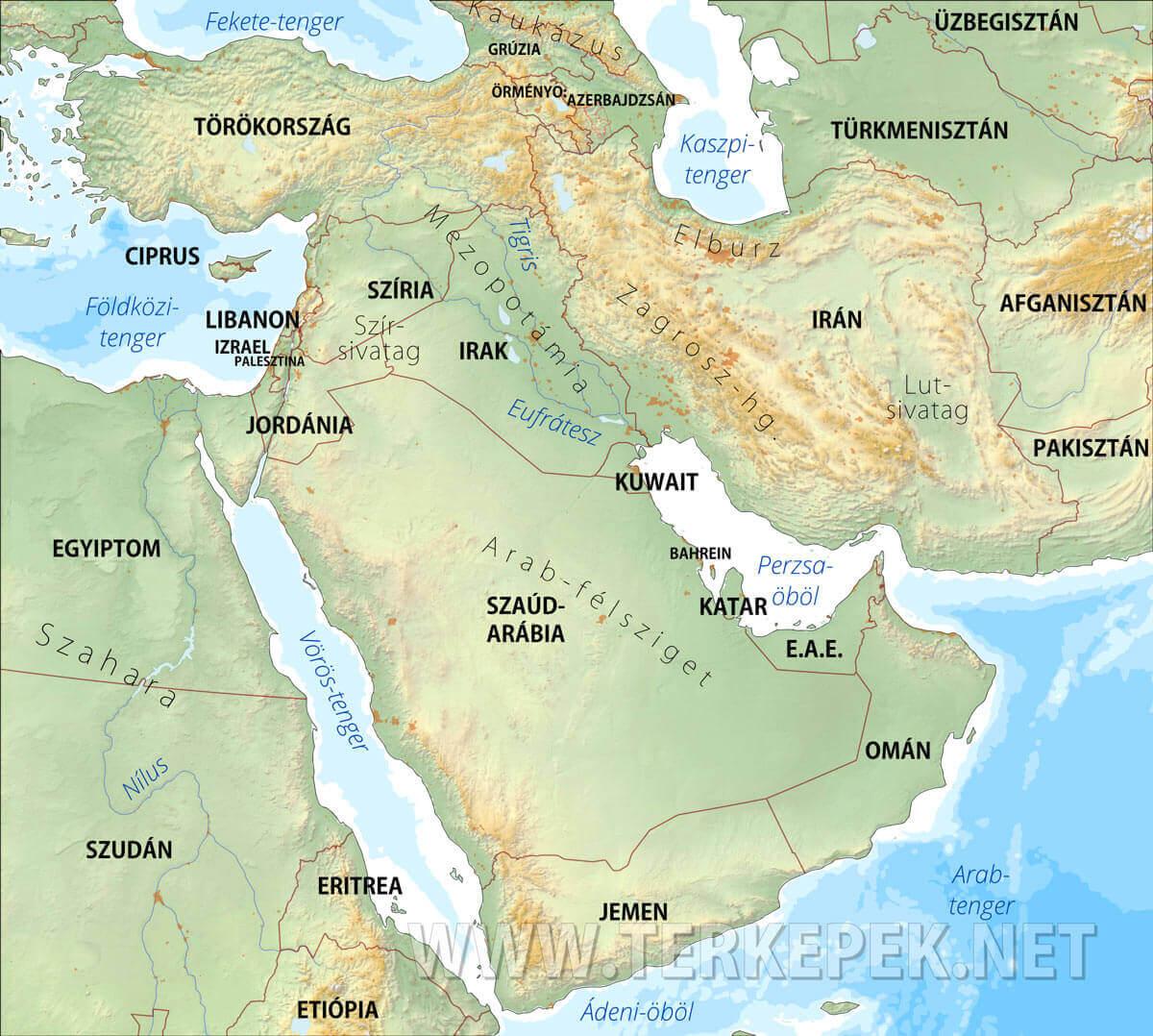 közel kelet térkép Közel Kelet domborzati térképe közel kelet térkép